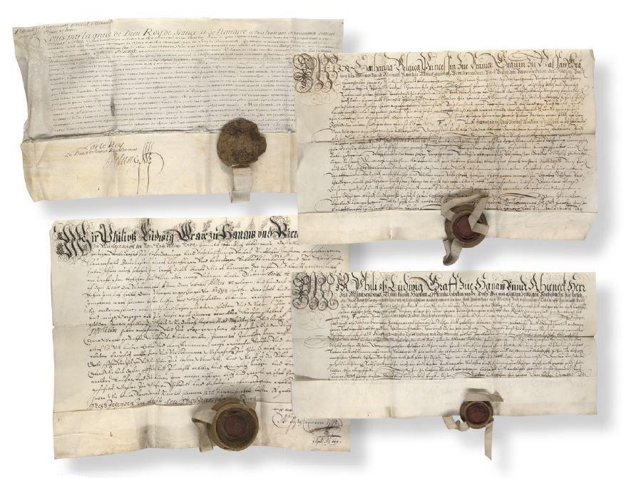 Sammlung von 6 Urkunden des hessischen Adels. Kurrents