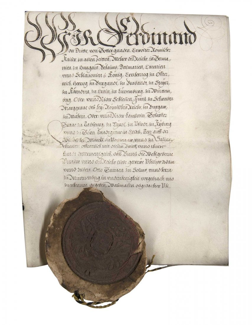Kaufvertrag beurkundet von Kaiser Ferdinand II. die Gra