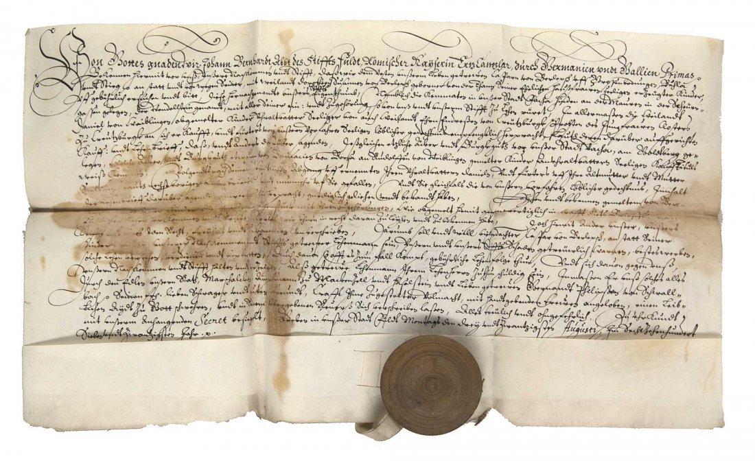 Sammlung von 6 Urkunden aus der Abtei von Fulda. Kurre