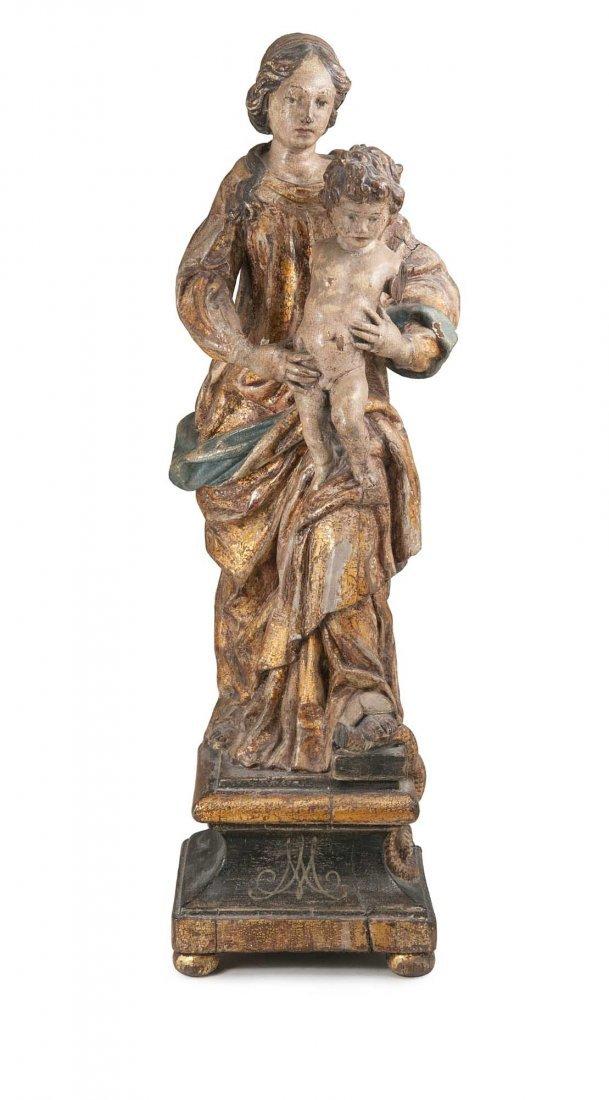 Schnitzfigur der Maria Immaculata. Wohl Italien oder F