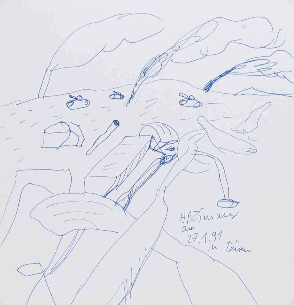 Zimmer, Hans Peter   o.T. 1991. Kugelschreiberzeichnung