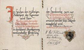 Purrmann, Karl Urkunde Für Otto Vötter Zur Auszeichnung