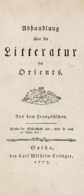 (jones, William) Abhandlung über Die Litteratur Des