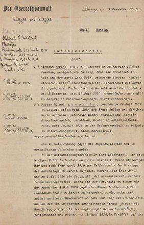 Anklageschrift Gegen Hermann Albert Wolf Und Gustav