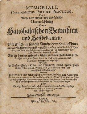 Wündsch, Johann Wilhelm Memoriale Oeconomicum
