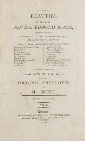 Burke, Edmund The Beauties Of The Late. 2 Bde. London,