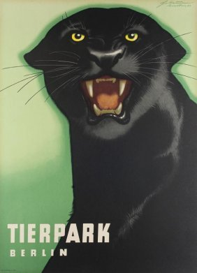 4 Farbige Original-plakate Tierpark Berlin. Um