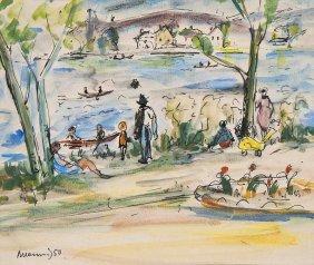 Hennig, Albert Am Wasser. 1950. Aquarell Ber