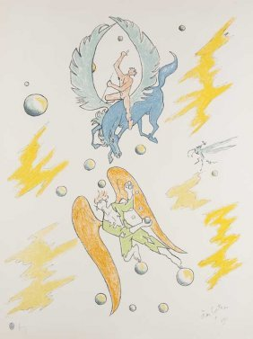 Cocteau, Jean Pegasus. (1956). Farblithographie Auf