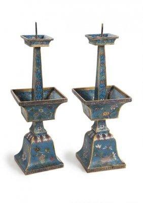 Paar Cloisonn-kerzenstnder Mit Ming-dekor Und