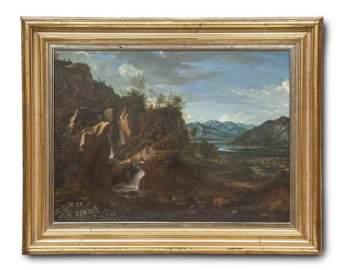 K�nstler des 18. Jhd. Landschaft mit Felsformation und
