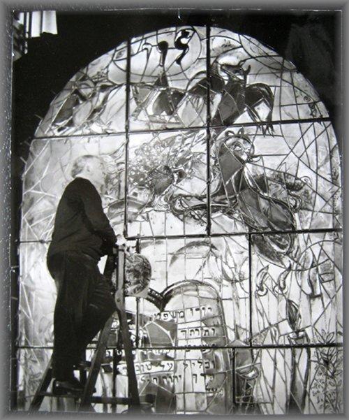 Marc Chagall working on the Jerusalem Windows