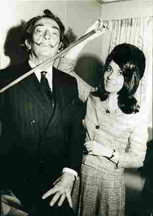 Dali, a woman and his cane