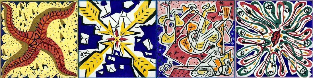 Salvador Dali - set of 6 ceramic tiles