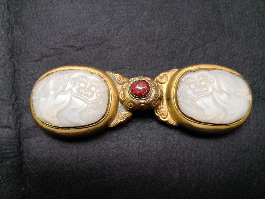 Chinese Carved Jade with Bronze Belt Hook - 5