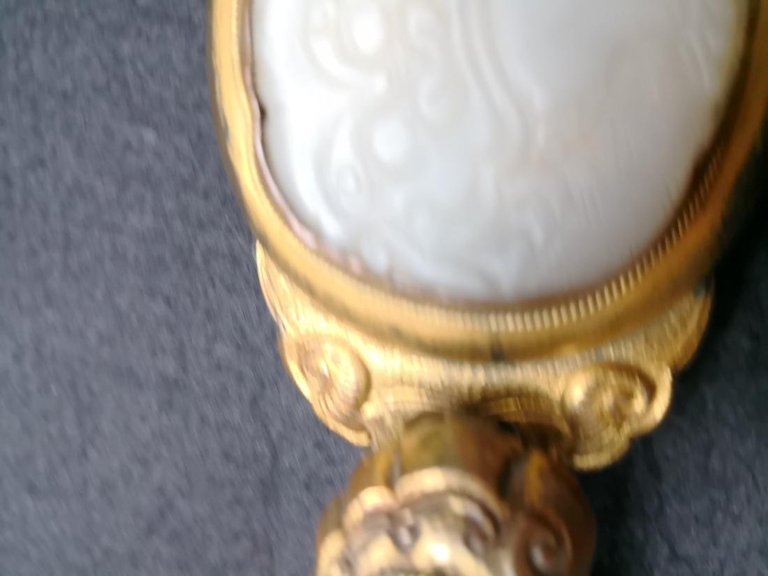 Chinese Carved Jade with Bronze Belt Hook - 7