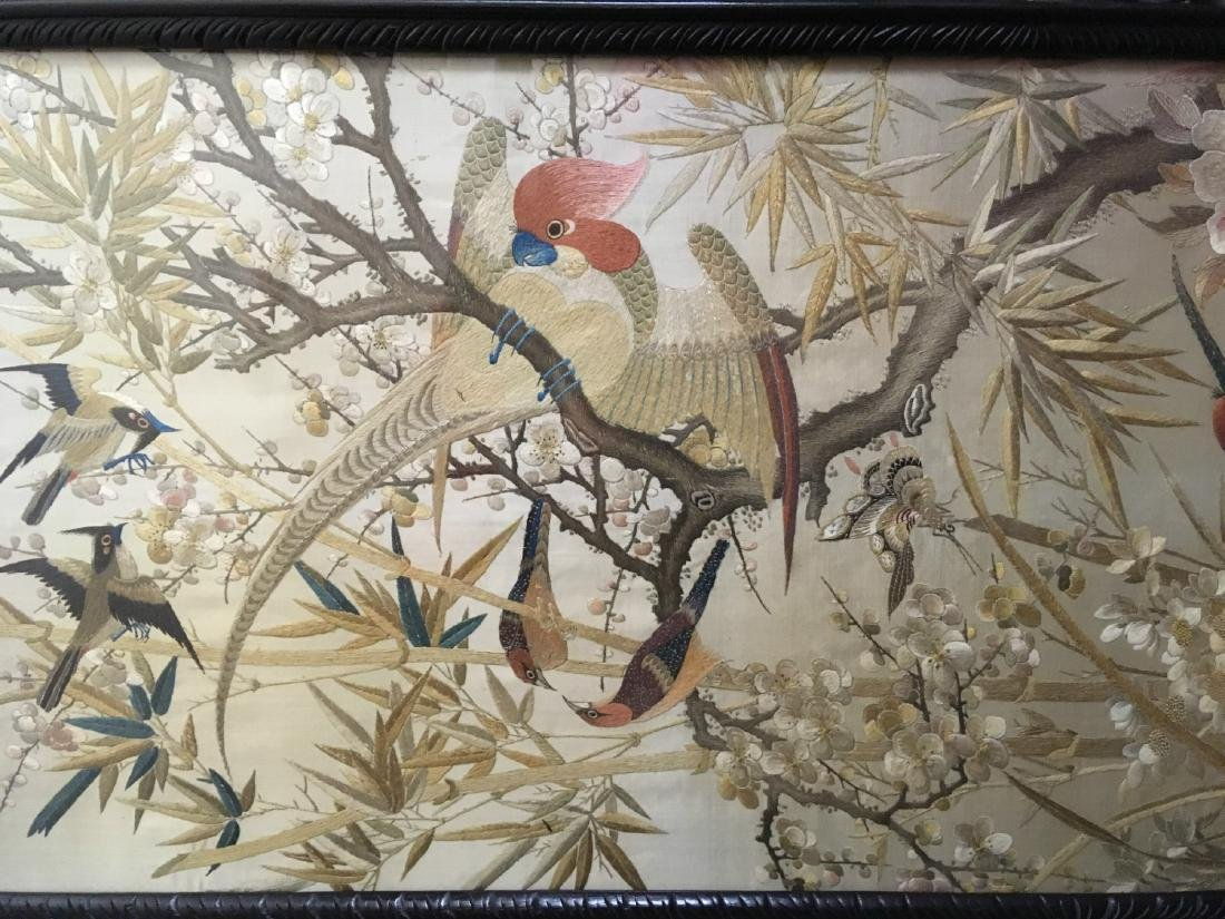 19th Century Chinese Embroidered Silk Screen - 7