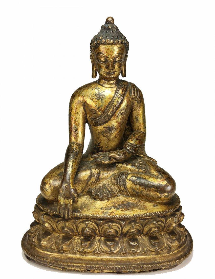 16th Century Chinese Tibet Gilt Bronze Buddha