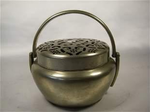 0th century Chinese bronze smoked incense burner