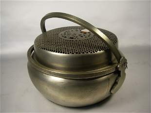 19th century Chinese white brass censer
