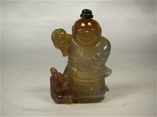 20th century Chinese agate snuff bottle