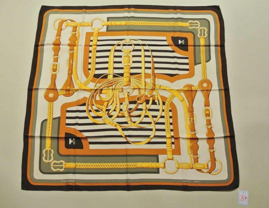"""HERMES Paris """"Coaching"""" by Julia Abadie Grey silk scarf"""