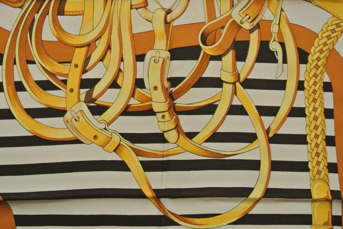 """HERMES Paris """"Coaching"""" by Julia Abadie Grey silk scarf - 2"""
