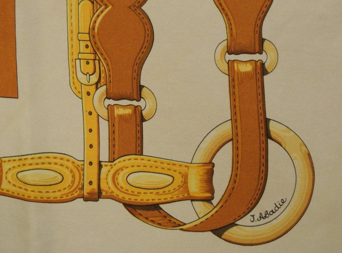 """HERMES Paris """"Coaching"""" by Julia Abadie Grey silk scarf - 4"""