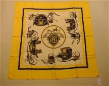 HERMES Paris Ex Libris by Hugo Grygkar Yellow silk sc