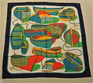 HERMES Paris Thalassa by Pierre Pron Blue silk scarf