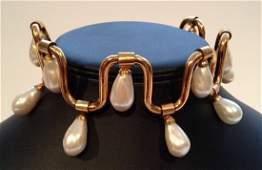 KARL LAGERFELD Collier frise en mtal dor orn de perl