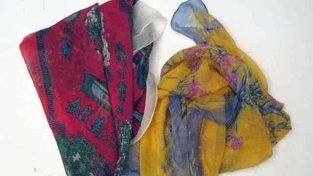"HERMES Paris ""Cheval Fleuri"" and ""Bonzai"" 2 muslin silk"