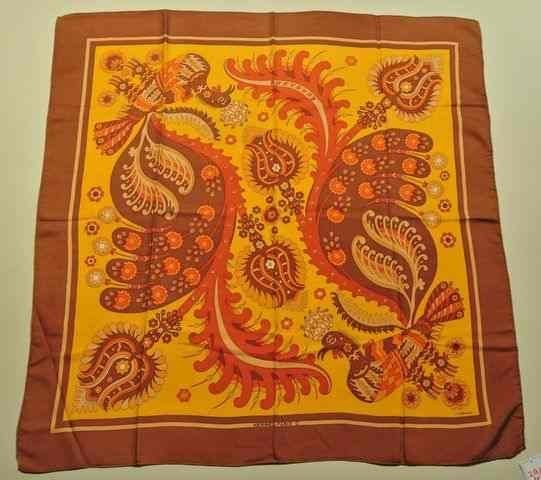 "HERMES Paris ""Skyros"" by Julia Abadie Brown silk scarf"