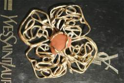 YVES SAINT LAURENT Rive Gauche Broche pendentif Fleur