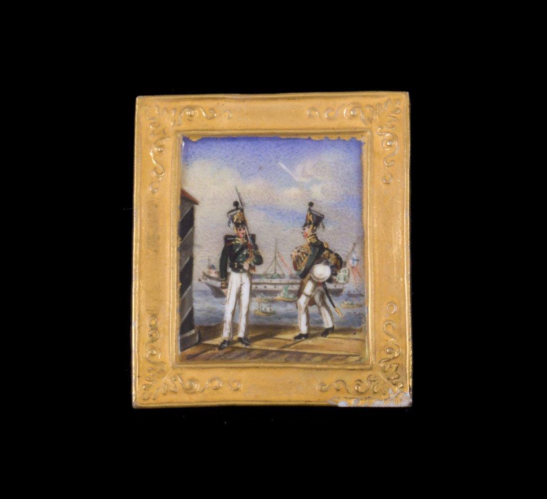 Miniature sur porcelaine figurant deux soldats russes