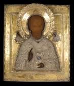 Icone repr�sentant Saint Nicolas en bois et argent dor�