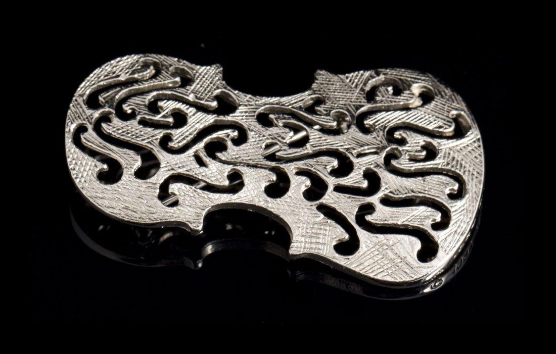 ARMAN Edition Broche violon en métal argenté - Circa