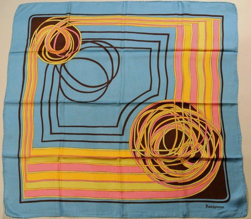JACQMAR Foulard en soie bleu, rose, jaune et marron à