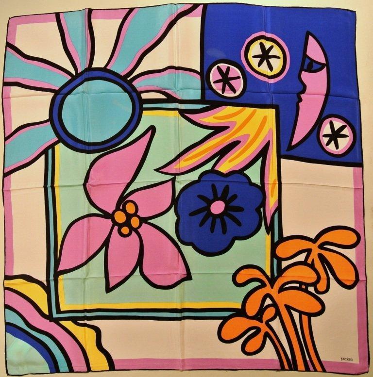 LOREDANO Foulard en soie violet, vert et bleu à décor