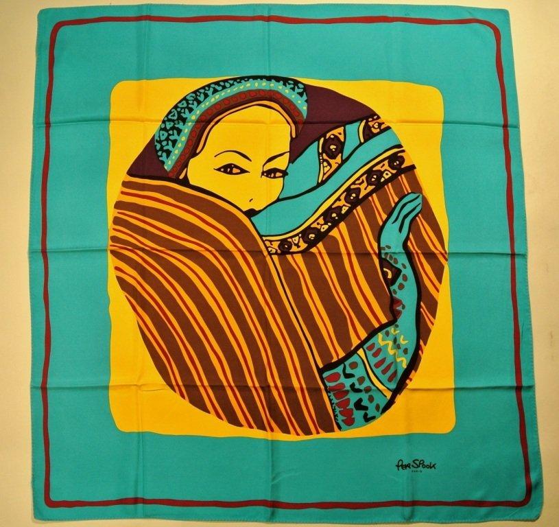 PER SPOOK Paris Foulard en soie bleu et jaune décoré