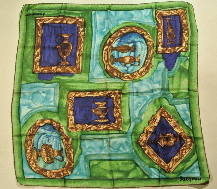 JACQMAR Foulard en soie vert et bleu à décor de