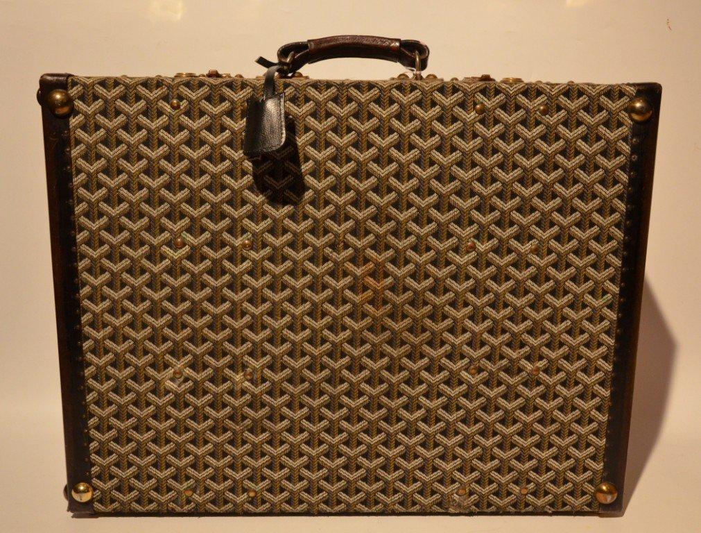 GOYARD Malle à chausures en tissu monogrammé et cuir