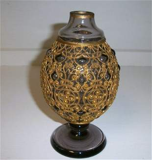 Moser Vase with Metal Jacket