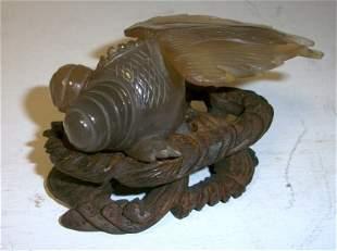 Rare Carved Jade Oriental Cicadia