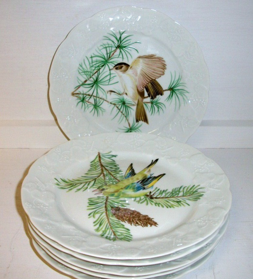 6 French Porcelain Bird Plates