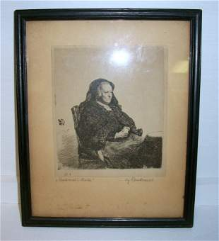 Old Etching Rembrandt's Mother