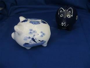 2 Porcelain Pig Coin Banks