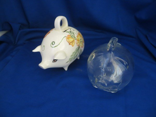 2 Pig Coin Banks w/Handle