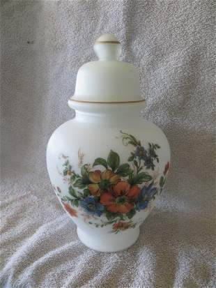 Frosted Glass Urn w/lid