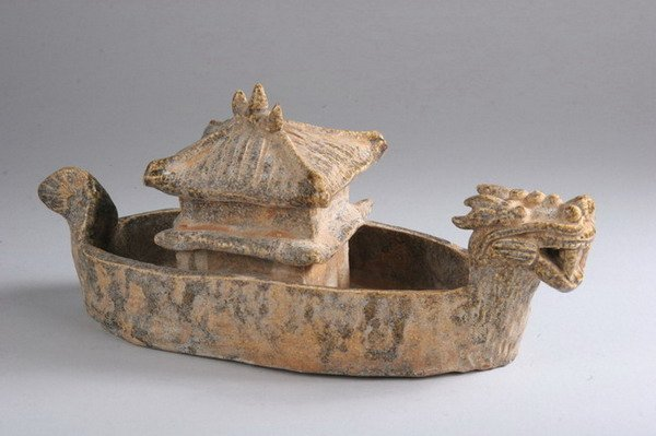 1: CHINESE GREEN GLAZED POTTERY DRAGON BOAT AND PAGODA,